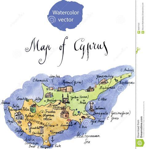 cyprus map vector kaart aantrekkelijkheden cyprus vector illustratie