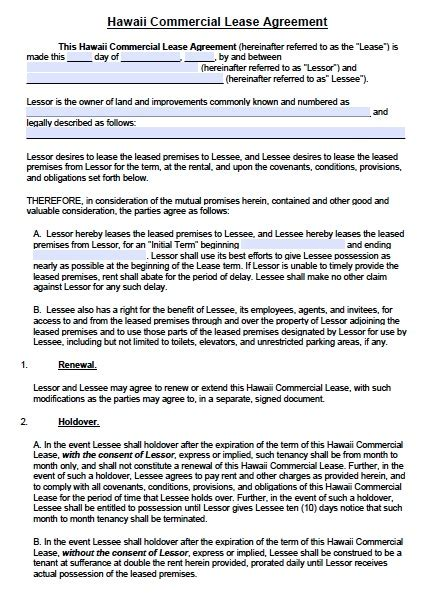 free hawaii commercial lease agreement template pdf word