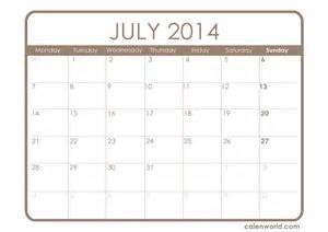 July 2014 Calendar Template by July 2014 Calendar Printable Calendars