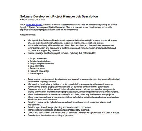 detailed description template doc 600600 project management roles and responsibilities