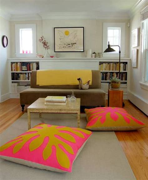 living room floor cushions small space living room decor using rectangle coffee desk
