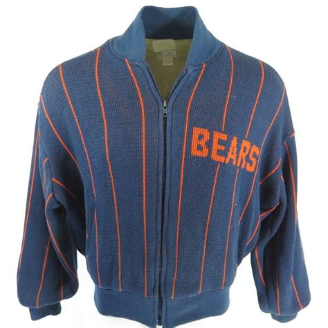 vintage 80s chicago bears sweater jacket mens m cliff