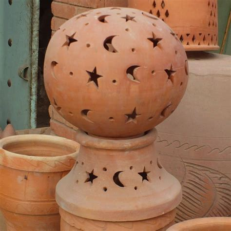 lamp terracotta  garden moroccan pottery  marrakesh