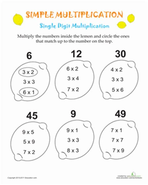 Simple Multiplication Worksheets by Simple Multiplication Lemons Worksheet Education