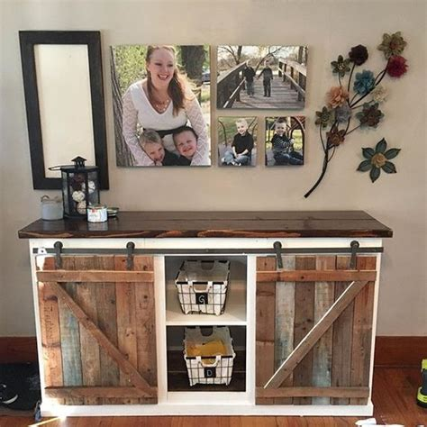 ana white scrapped the sliding barn doors rustic diy farmhouse sliding door console from plan http ana