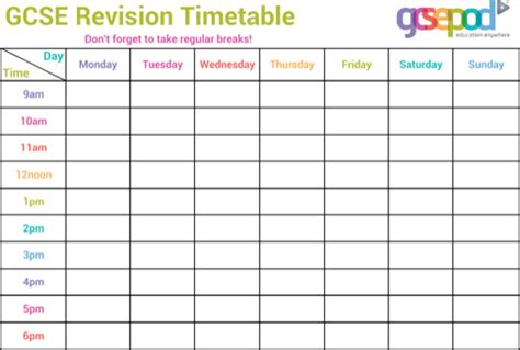 gcse revision planner template homework timetable