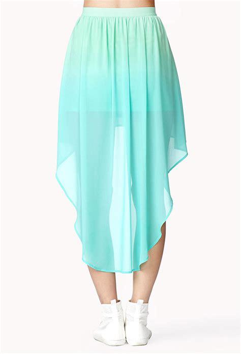 forever 21 highlow ombr 233 skirt in green lyst