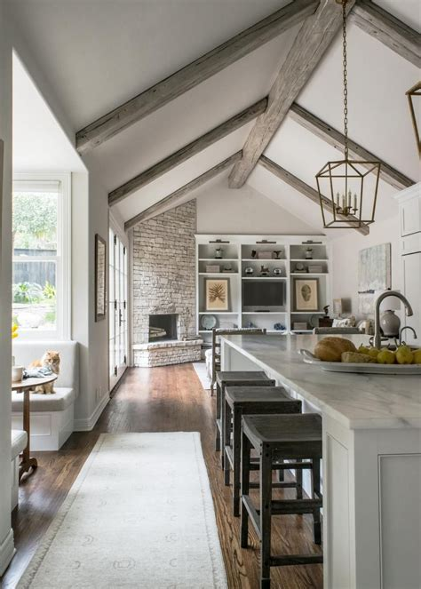 white contemporary kitchen with vaulted ceilings in 2018