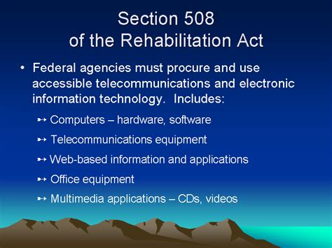 what is section 508 of the rehabilitation act section 508 of the rehabilitation act slide27