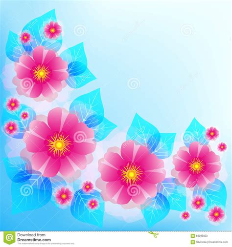 wallpaper pink and blue floral festive blue background with pink flowers and leaves stock