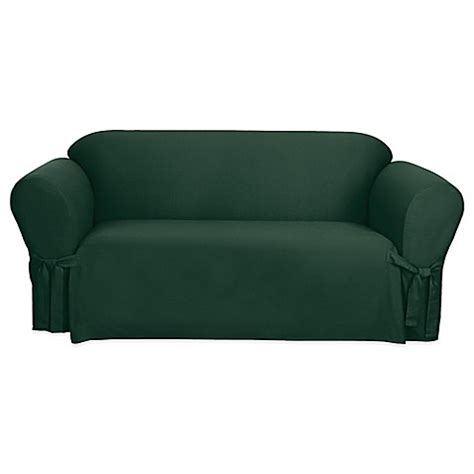 Sure Fit 174 Canvas Cvc Sofa Slipcover In Hunter Green Bed Green Sofa Slipcover