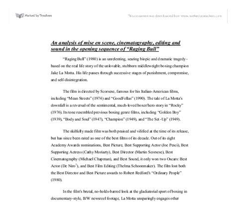 A Raging Essay by Raging Bull Analysis Essay