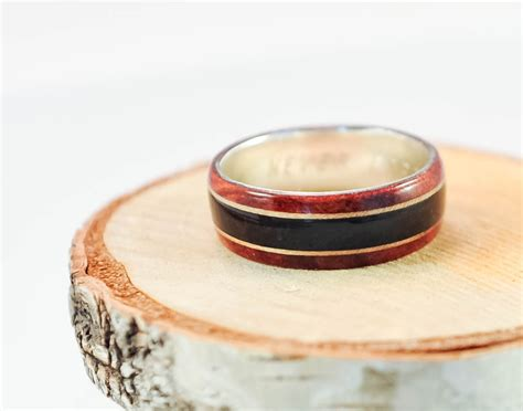 firefighter wood ring silver band mens wood rings