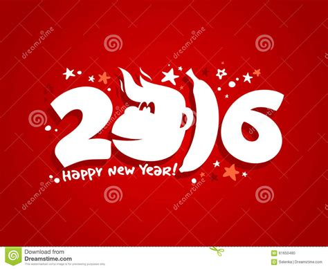 new year monkey card design 2016 new year card design with fiery monkey stock vector