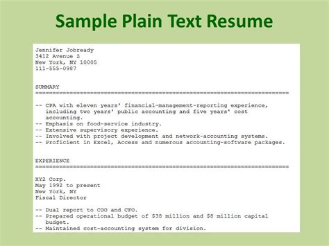 what is a plain text resume resume ideas