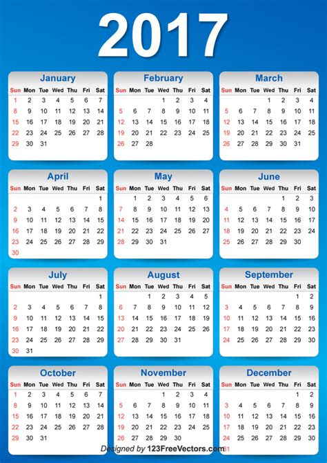 calendar 2017 design vector blue 2017 calendar design by 123freevectors on