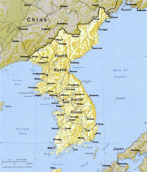 korea physical map korean peninsula physical mapsof net