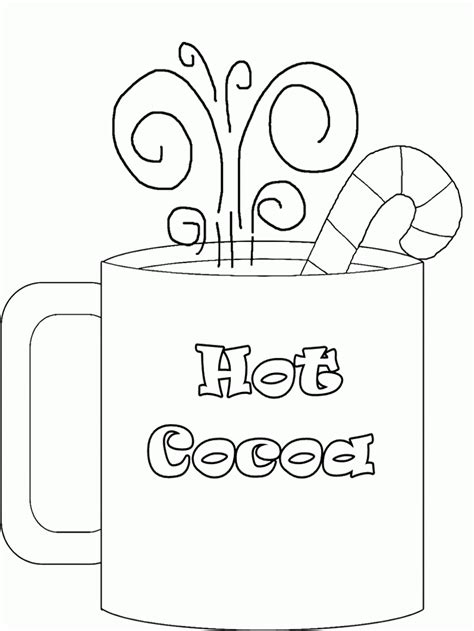 cup of hot chocolate coloring page coloring pages