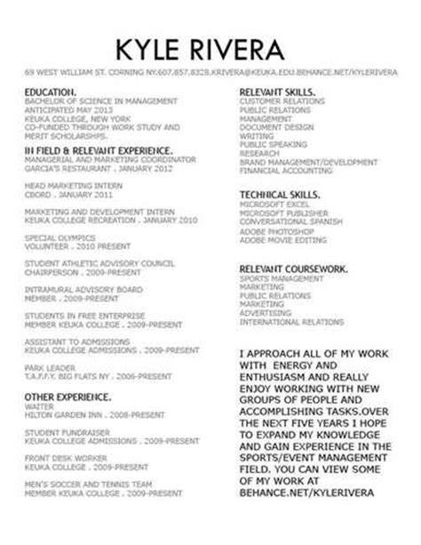 resume objective exles sports management resume sports management resume ideas