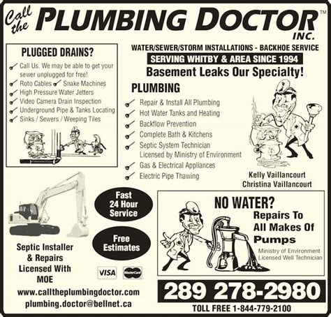 Plumbing Dr by Call The Plumbing Doctor Oshawa On 712 Wilson Rd S
