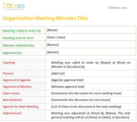 organization meeting minutes template meeting minutes template for organization dotxes