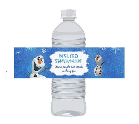 free printable melted olaf labels instant download olaf disney frozen water bottle labels