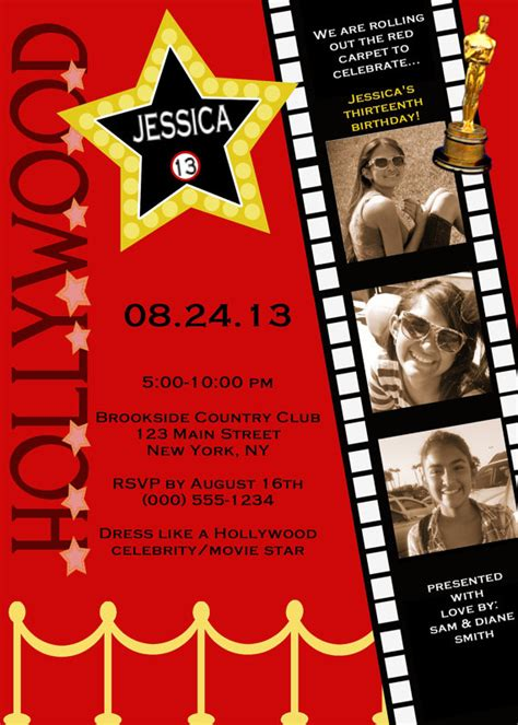 free templates for hollywood invitations customized hollywood red carpet invitations