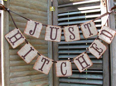 Rustic Wedding Banner by Just Hitched Burlap Wedding Banner Rustic From
