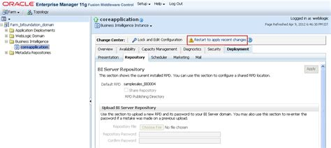 tutorial oracle enterprise manager 11g obiee training deploying rpd and catalog in bi 11g