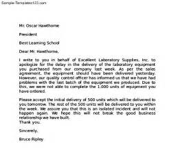 Business Apology Letter For Wrong Order perfect apology letter to client for delay in the delivery of