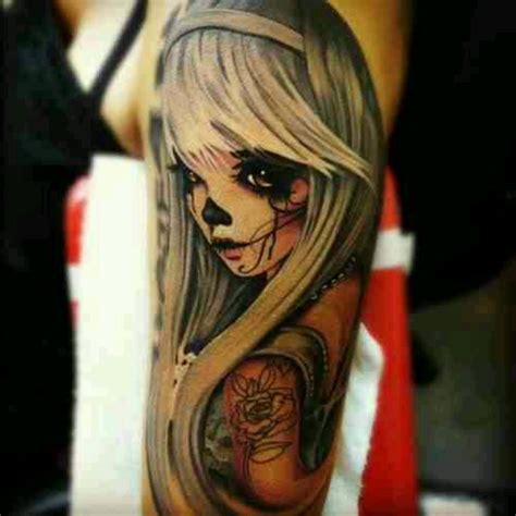 anime girl tattoo anime ink day of the dead