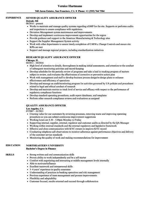 quality officer resume format quality assurance officer resume sles velvet