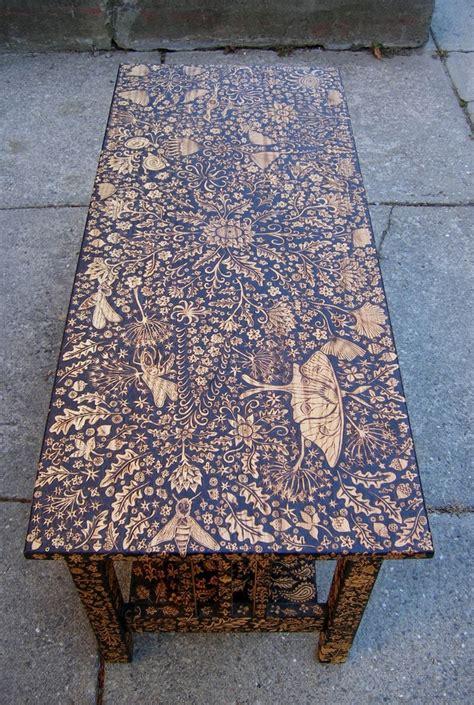 Wood Burned Table wood burned coffee table by cecilia galluccio