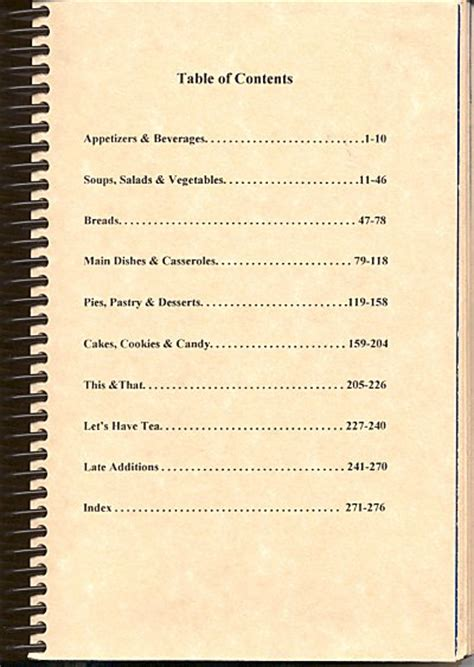 cookbook table of contents template family cookbook