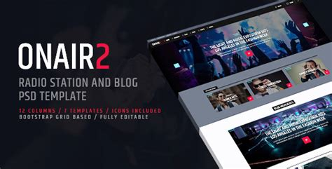 themeforest psd free download onair2 radio station psd website template by