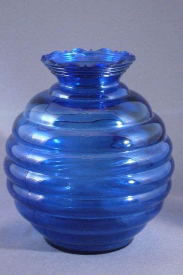 cobalt blue glass l base vintage cobalt blue glass beehive shaped vase usa