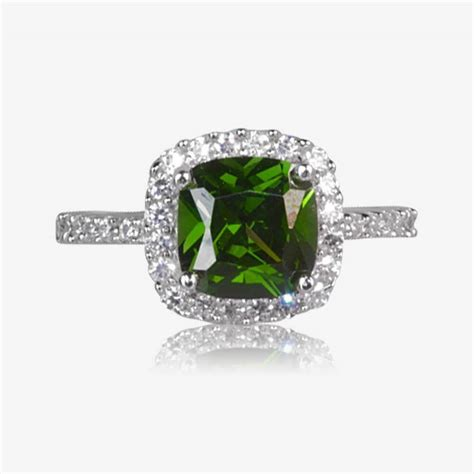 sterling silver emerald coloured diamonflash