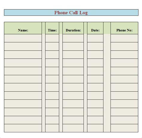 8 Sle Printable Phone Log Templates Sle Templates Receptionist Call Log Template
