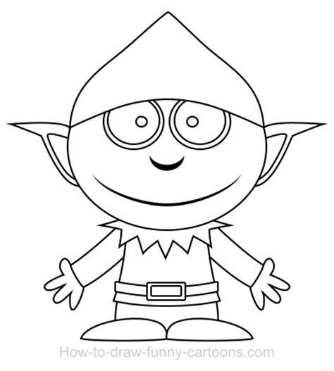 simple elf coloring page drawing an elf cartoon