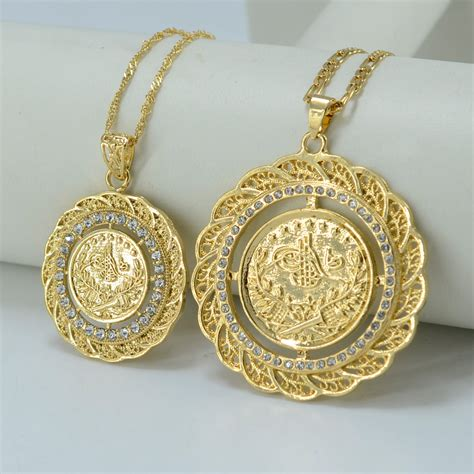 two size pendant necklace arab coin for 18k gold
