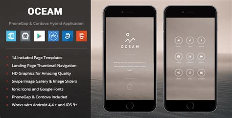 Oceam Phonegap Cordova Mobile App By Enabled Codecanyon Cordova Mobile App Template
