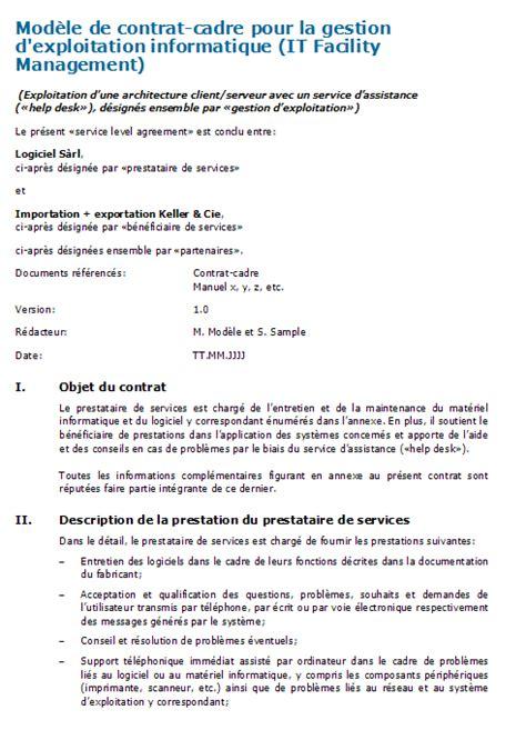 Contrat Cadre Prestation De Service It Facility Management Contrat Cadre 224 T 233 L 233 Charger