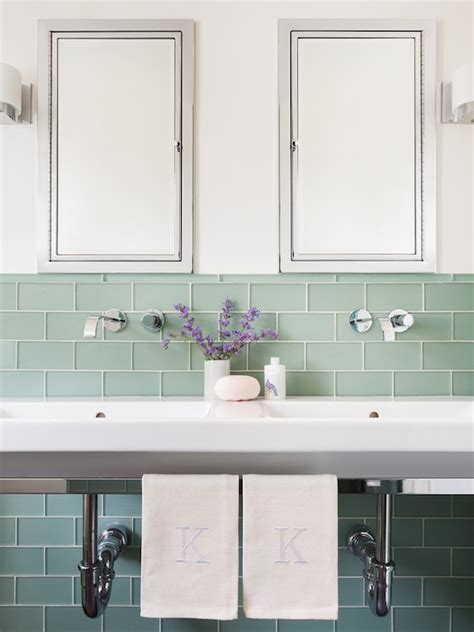 bathroom glass tiles green subway tiles contemporary bathroom sophie metz