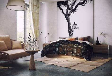 organic vibe bedroom with feature wall interior design