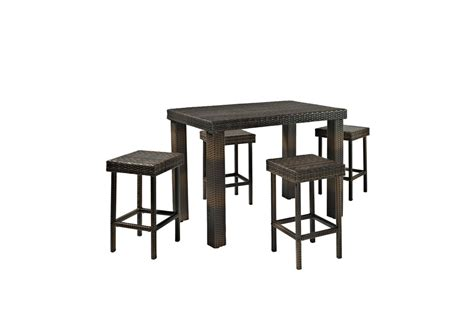 High Dining Table And Stools by Palm Harbor 5 Outdoor Wicker High Dining Set Table