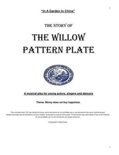 willow pattern lyrics freddie green s musical plays for primary school