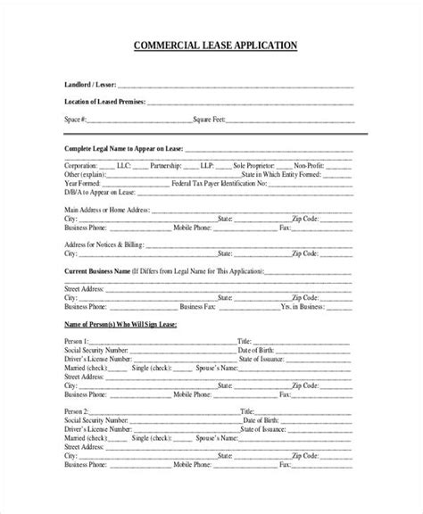blank rental application form 7 commercial lease application form free sle