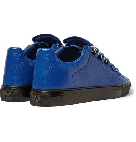 balenciaga blue sneakers lyst balenciaga arena creased leather sneakers in blue