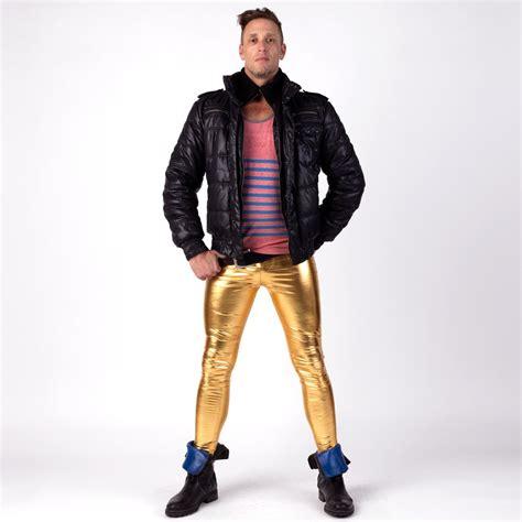 gold metallic meggings meggings man clothing
