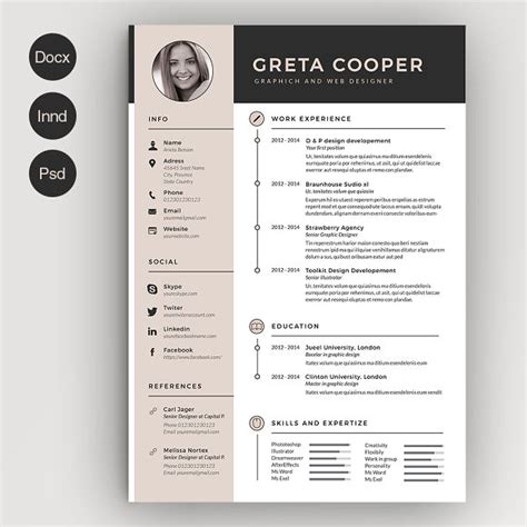 Cv Design Vorlagen Clean Cv Resume Ii Resume Templates Creative Market